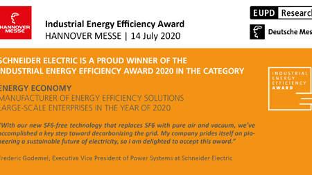 Schneider Electric gana el Industrial Energy Efficiency Award en Hannover Messe por su tecnología de aparamenta en media tensión sin gas SF6